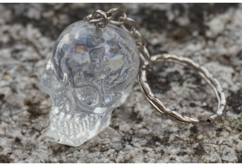 new appearance reasonably priced uk store HF1620 F PORTE CLE CRANE TETE DE MORT BLANC TRANSPARENT SKULL GOTHIQUE