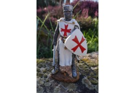 HF1403 FIGURINE TEMPLIER GUILLAUME BEAUJEU HEAUME MEDIEVAL   EPEE  21CM  2 SUR 3