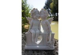 A335110  FIGURINE STATUETTE  COUPLE LOVE ANGE BLANC   MYSTIQUE CHERUBIN BEBE FEE
