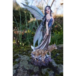 15529  FIGURINE STATUETTE  FEE ET  LOUP   HEROIC  FANTASY FAIRY DREAMS