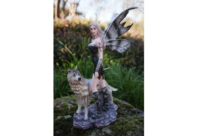 15530 FIGURINE STATUETTE  FEE ET  LOUP   HEROIC  FANTASY FAIRY DREAMS