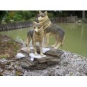 MO0045 FIGURINE STATUETTE FAMILLE LOUP SUR ROCHER ANIMAL SAUVAGE