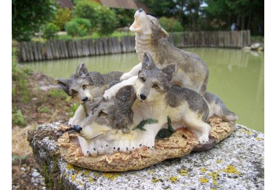 MO0258 FIGURINE STATUETTE FAMILLE LOUP ANIMAL SAUVAGE FORET