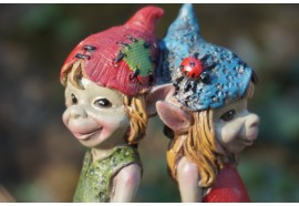 140074   FIGURINE TROLL COUPLE LOVE DOS A DOS AMOUR   PIXIE ELFE PIXIES FEE