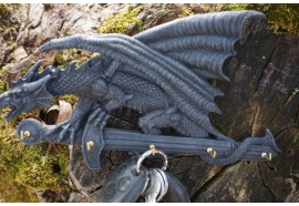 766.9033  SUPPORT CLE  MURAL   DRAGON  HEROIC  FANTASY  FIGURINE GOTHIQUE