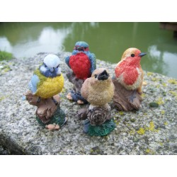 NA0832 FIGURINE STATUETTE STATUE LOT DE 4 OISEAU COLLECTION JARDIN