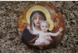 PBOU2 SULFURE PRESSE PAPIER  BOUGUEREAU VIERGE VIRGIN WITH LILY    PAPERWEIGHT