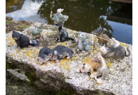 208218 FIGURINE STATUETTE LOT DE 8 CHAT ADORABLE + SOURIS