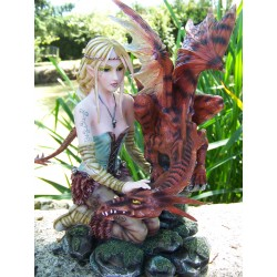15226 GRAND FIGURINE FEE ELFE DRAGON HEROIC FANTASY GM LES ALPES NADA